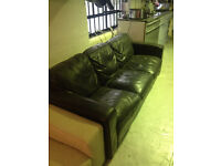 Free black leather sofa, 214x93 cm
