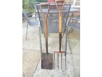 Digging spape and fork. Traditional, strong, used