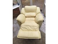 Leather 3 Seater Sofa and Arm Chair Recliners in Buttercream