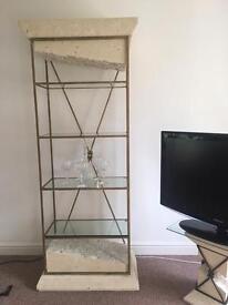 Italian glass stone wall unit marble style shelves