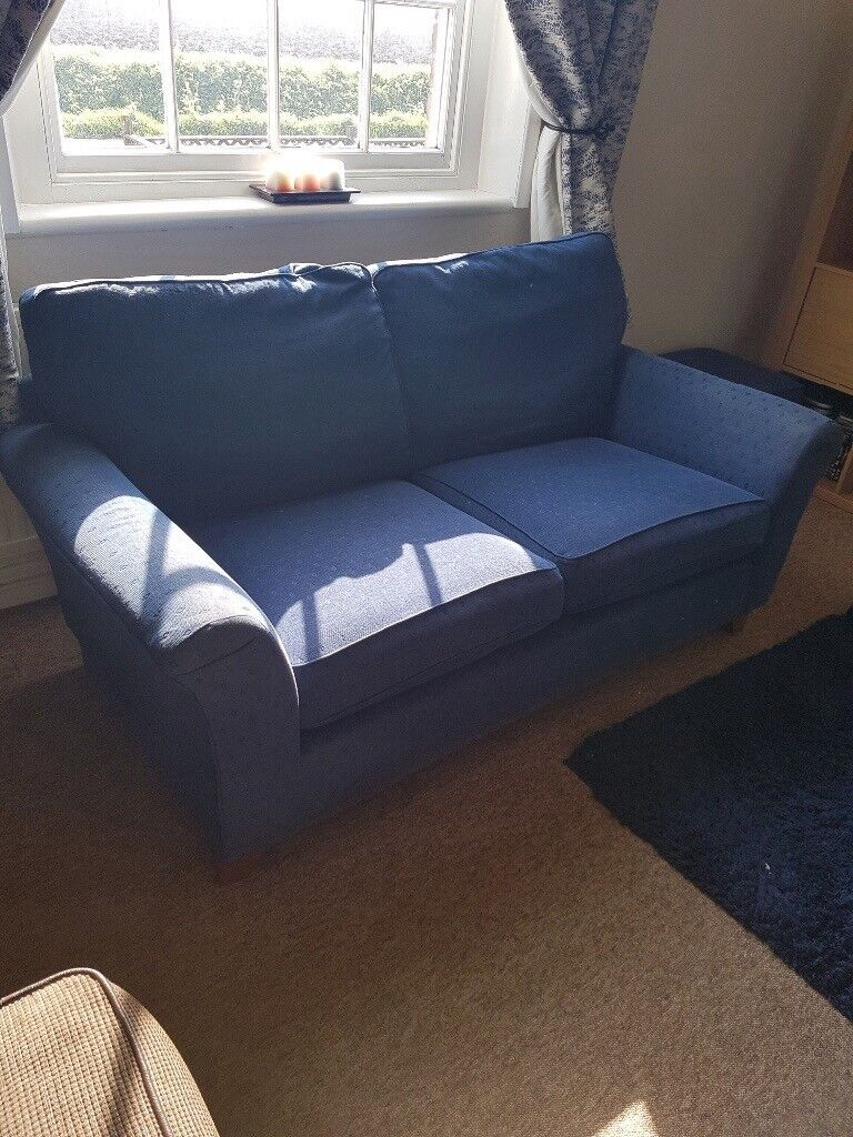 M Amp S 2 3 Seater Sofa And Pouffe Footstool Navy Blue In Boston