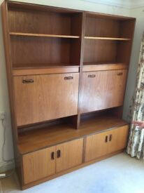 G Plan Large Wall Unit/Drinks Cabinet with Cupboard Below