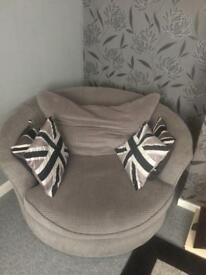 Grey Swivel cuddle chair and 3 seater sofa