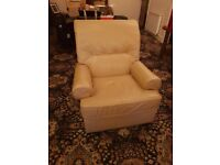 free single seater leather sofa cream for collection only