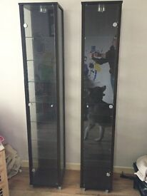 Pair of walnut glass units for £80 Ono