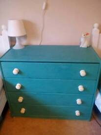 Pine chest of drawers chalk painted blue Annie Sloan