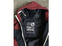 Lovely Haywire showerproof jacket. Navy and burgundy - age 7-9
