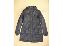 As New - M&S Girls Black Long Winter Coat age 13 to 14 years