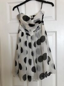 White dress with black polka dots