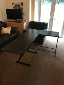 Black L-shaped desk (2 parts/desks)- functions as 2 desks also
