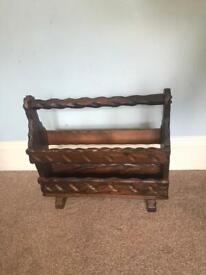Solid Wooden Carved Magazine Rack H17in/43cm W19in/48cm D7in/18cm Very Good Condition R237