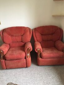 Free - 2 x old armchairs, inc 1 recliner comfy but dusty! & 2 x kitchen style chairs