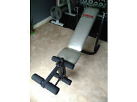 York B500 Flat/Incline Weight Bench with leg curls/extension unit and Rubber Gym Flooring