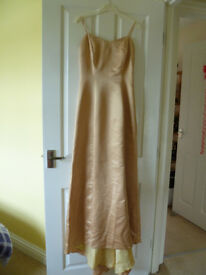 USED Antiques Gold Prom/Bridesmaid Dress with embelishments and wrap. Size 8