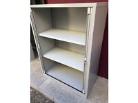 1.35m tall Bisley tambour storage cabinet with key