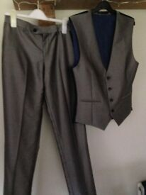 Next grey suit trousers and waistcoat worn once size 30L and waistcoat to match