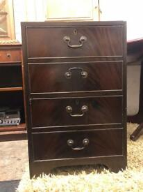 Antique style mahogany two drawers filling cabinet