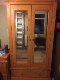 Double mirror door pine wardrobe - can deliver