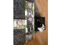 Xbox 360 with games and 2 controls