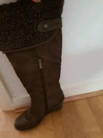 Brown knee high boots size 6