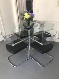 SOLD Glass Dining Table & Four Chairs