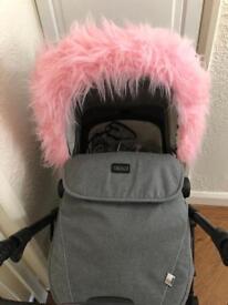 Pink Pram Hood Fur Trim