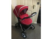 Silver Cross Pioneer Pram, pushchair and car seat - Red