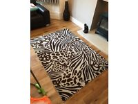 Large 100% wool rug by Next in brown & cream print, 200 x 140