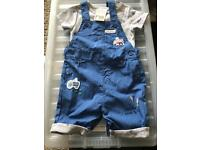Dungaree shorts & T-shirt 9-12 brand new with tag MOTHERCARE