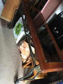 Wood/metal/glass occasional table