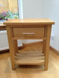 Oak Console Table, HWD 76:60:35mm Light Oak with single drawer