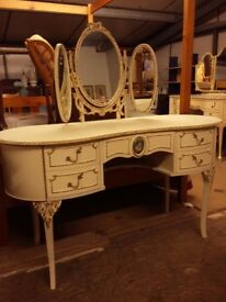 Wonderful French Louis Style Dressing Table with Triple Mirror