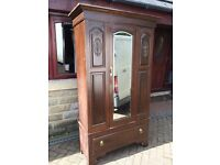 WOODEN WARDROBE IDEAL FOR UP CYCLING OR SHABBY CHIC PROJECT