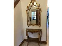 Gold large mirror and matching table