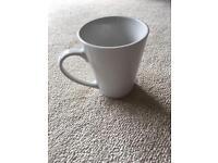 Set of 6 white large mugs