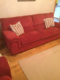 Sofa - 3x2x1 plus large matching footstool with storage