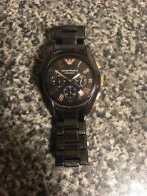 Emporio Armani Men's Black/Rose gold ceramic watch