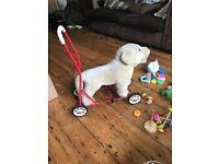 Vintage soft toy Dog Labrador baby walker
