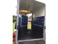 Blue Ifor Williams HB510R horse trailer.
