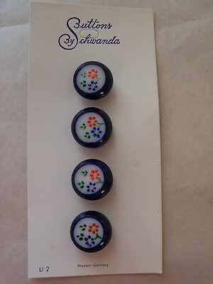 8 BLUE VINTAGE GLASS HAND PAINTED FLOWER SCHWANDA BUTTONS CARDS SEWING KNIT 12mm