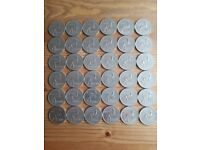 Job lot of 36 South African coins - Apartheid 1 Rand coin