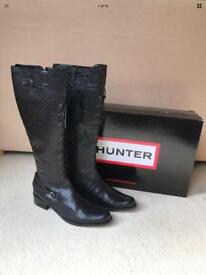 Hunter Beaufort Black Leather Knee High Boots, Size UK 8 NEW BOXED