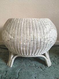 Cream painted wicker footstool/bedroom stool
