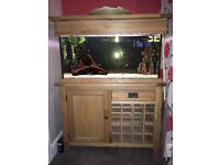 Solid Oak Cabinet Aquarium Set Up