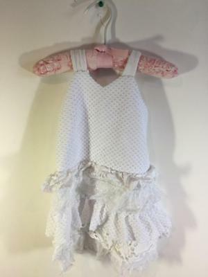 Blush US Angels Girls White Fishnet Eyelet Tulle Ruffle Sleeveless Dress Size 4 - Girls White Fishnet