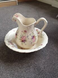 Beautiful ceramic jug and wash bowl