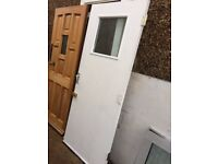 **HEAVY FIRE DOOR WITH WIRED GLASS AND HINGES FITTED**WHITE**