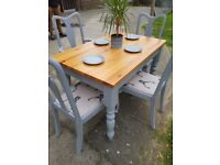 Farmhouse DINING TABLE & 4 vintage Queen Anne stag CHAIRS. Grey shabby chic FREE safe LOCAL Delivery