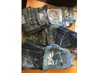 8 x pairs men's/youths designer jeans 30w32L regular
