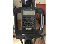 Electric/battery operated cross trainer different profiles are selectable depending on fitness etc